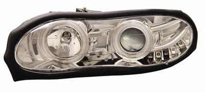 98-02 Camaro Anzo Halo Front Head Lights w/Clear Lens - Chrome Housing & Amber Reflectors