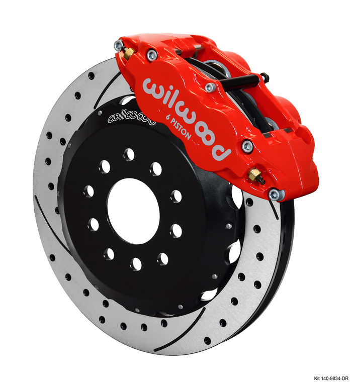 "98-02 Fbody Wilwood 14.00"" Superlite 6R Big Brake Front Brake Kit (Hat) w/Drilled & Slotted Rotors & Red Calipers"