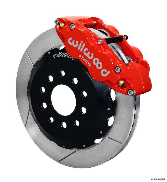"98-02 Fbody Wilwood 14.00"" Superlite 6R Big Brake Front Brake Kit (Hat) w/Slotted Rotors & Red Calipers"