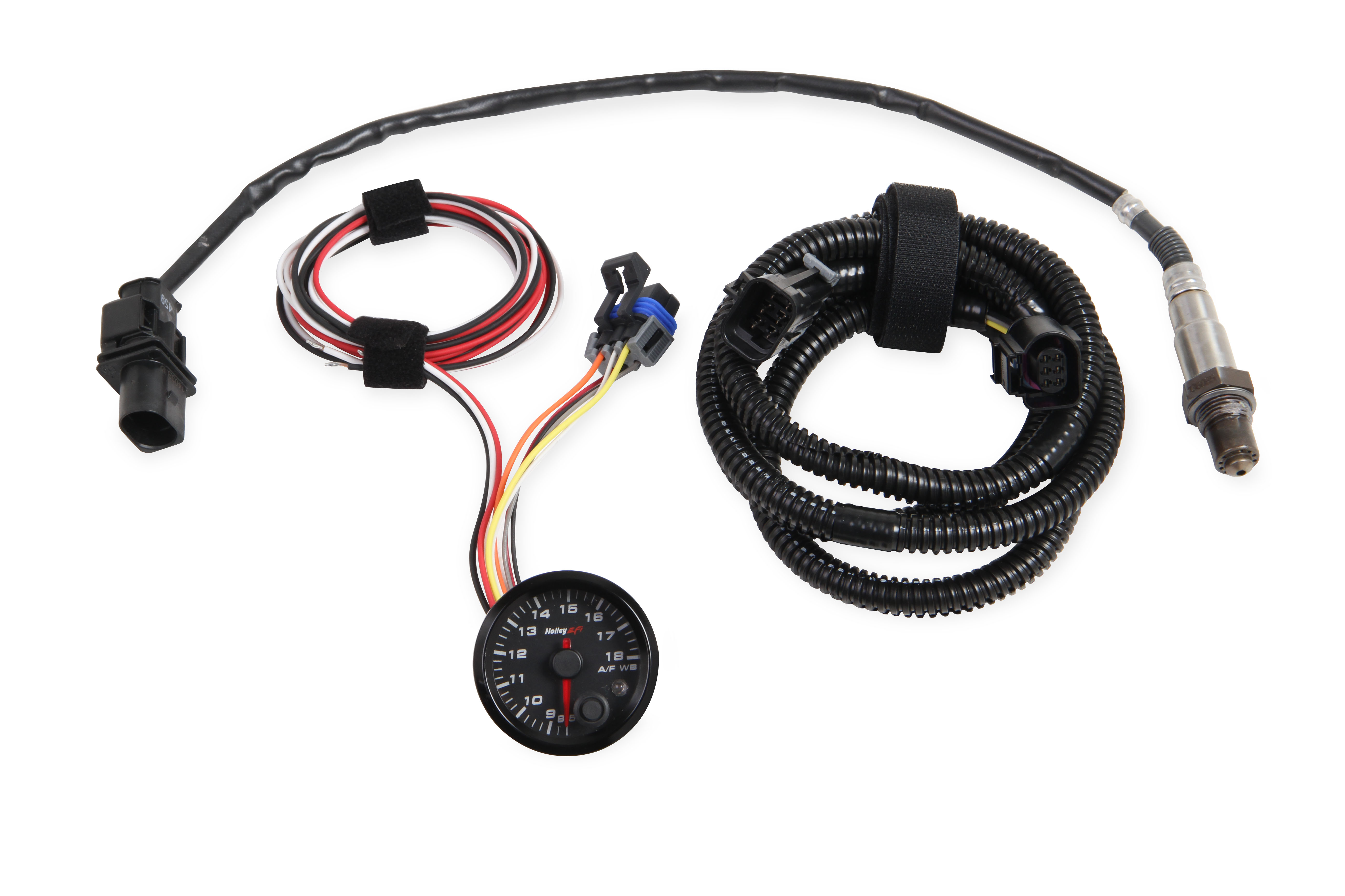 "Holley EFI Standalone Air/Fuel Wideband 02 Guage Kit - 2-1/16"" Wideband A/F Guage, 8.5-18, Black Face"