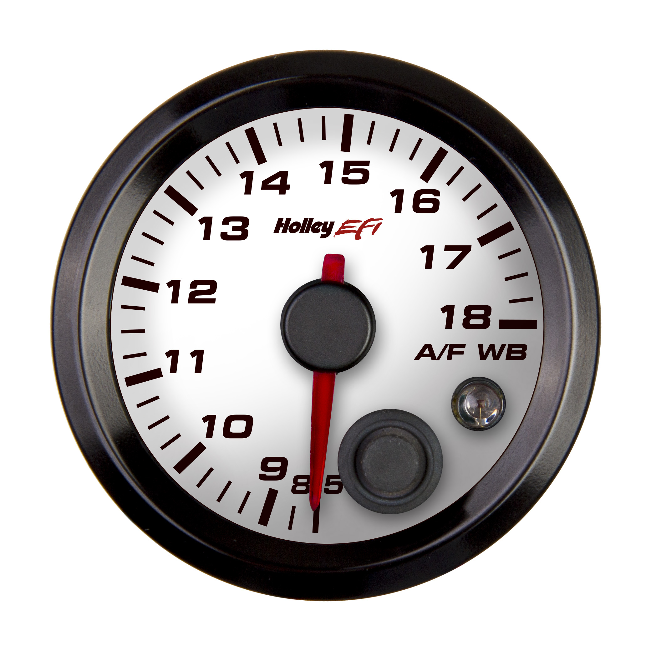 "Holley EFI Standalone Air/Fuel Wideband 02 Guage Kit - 2-1/16"" Wideband A/F Guage, 8.5-18, White  Face"