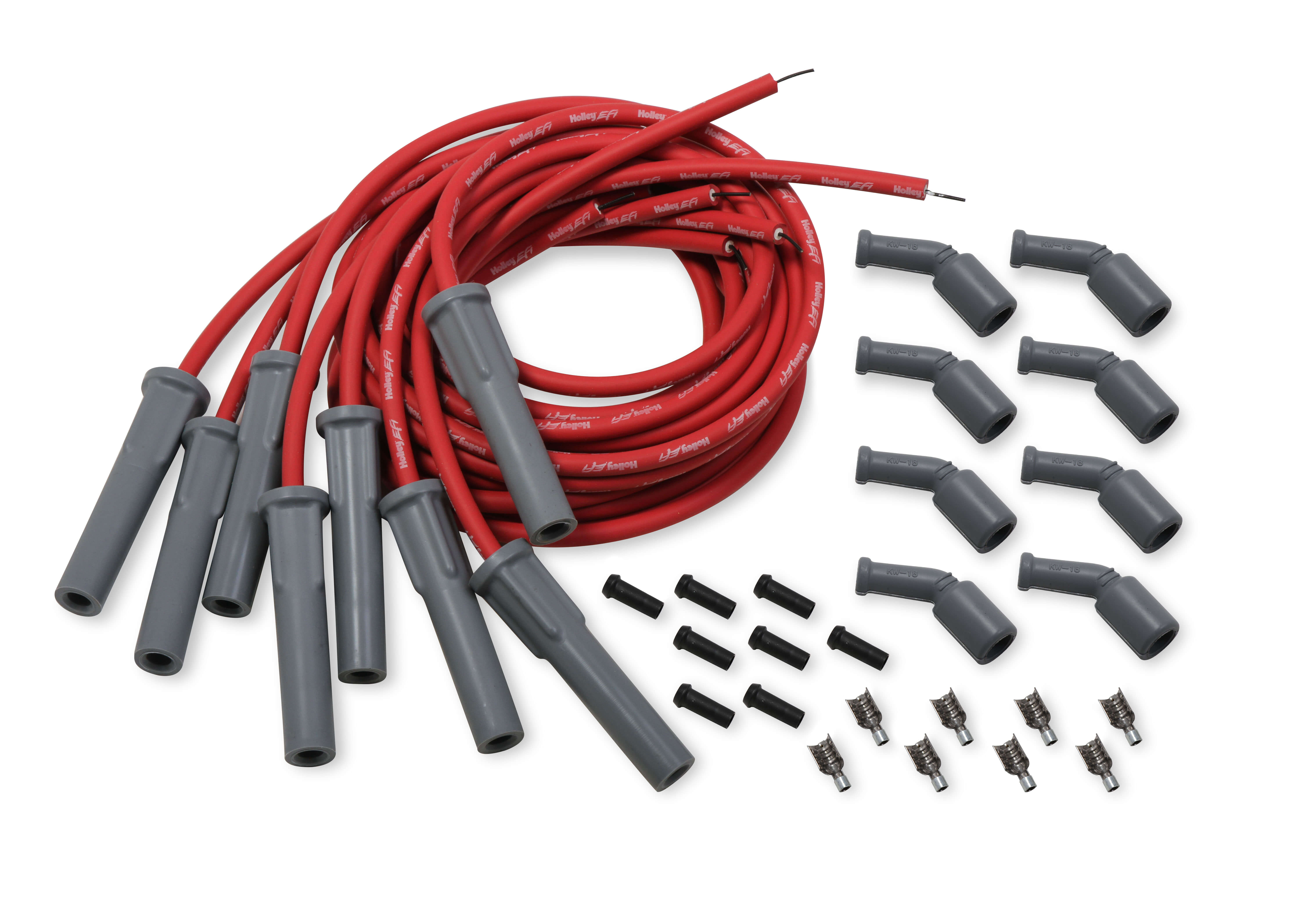 LS Series Holley EFI Cut to Fit Spark Plug Wire Set - Red (For OE Coil)