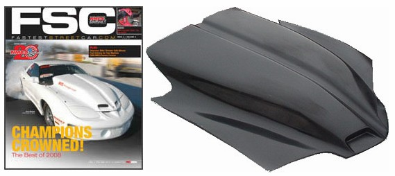 "98-02 LS1 Firebird VFN Fiberglass 5"" WS6 Ram Air Pin On Hood w/Factory Grill Inserts"